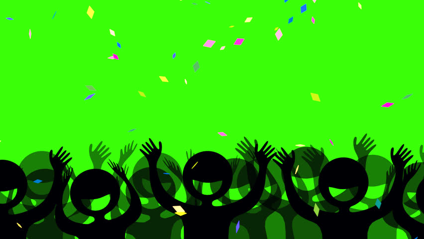 Seamless looped cheering crowd silhouette with falling colorful confetti against green chroma key background.