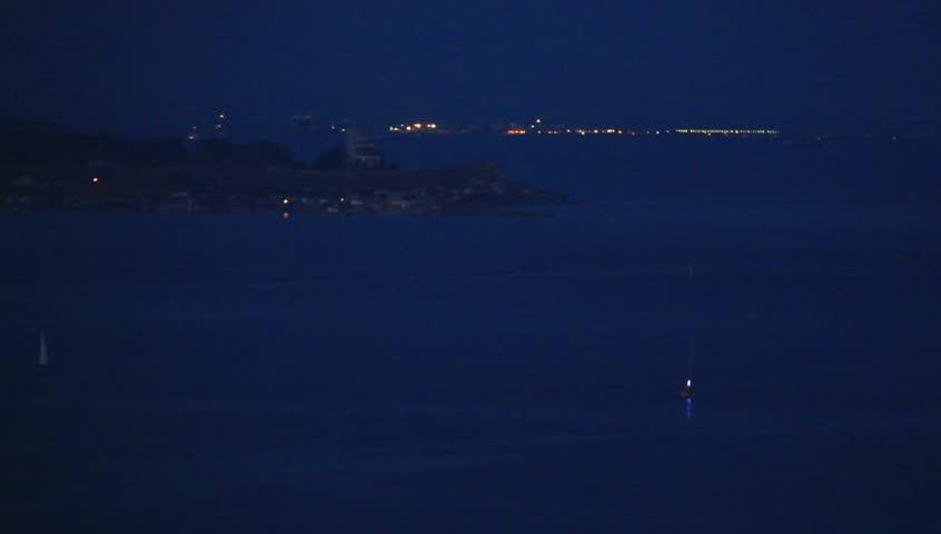 seacoast at night