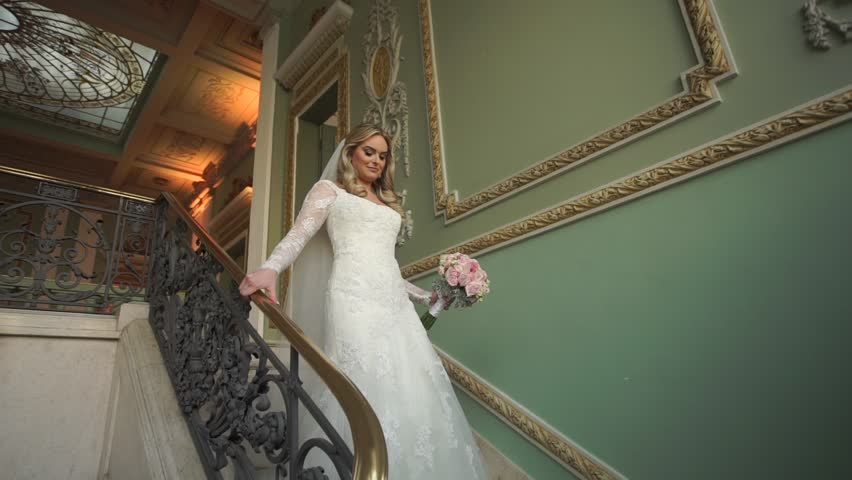 Elegant Bride down the stairs