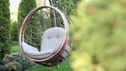 View of a green lawn and wicker rattan chairs-shells for relaxing, hotel, hanging bench seat chair in basket design on the green grass field, Rattan chair on the lawn, Shallow depth of field, Needles