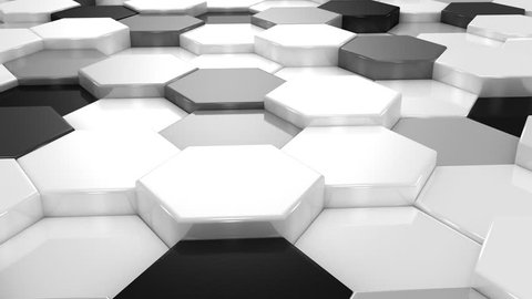 Animated Hexagons. Abstract background, loop, created in 4K, 3d animation