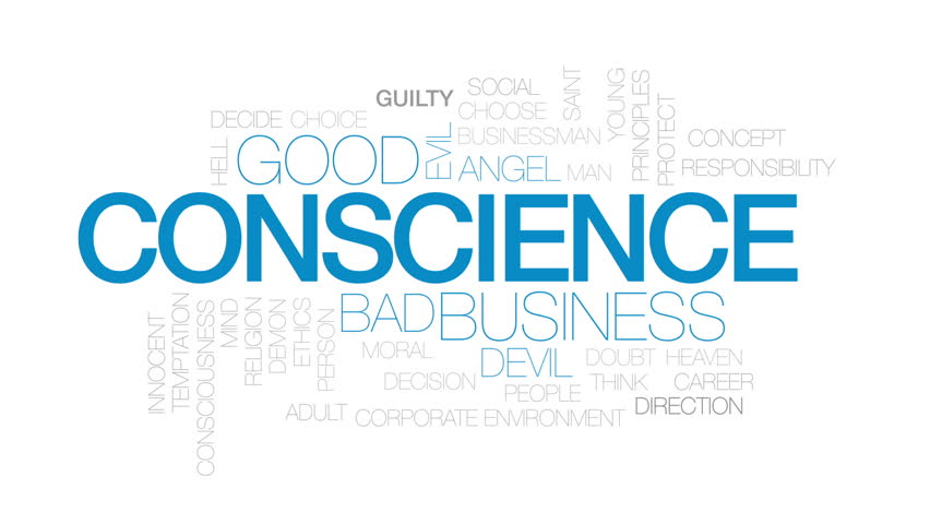 Conscience design animated word cloud, text design animation. Kinetic typography.