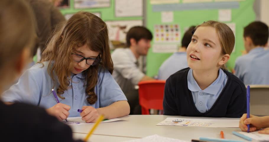 4k, Cute girl looking away thoughtfully in a classroom | Shutterstock HD Video #26520689