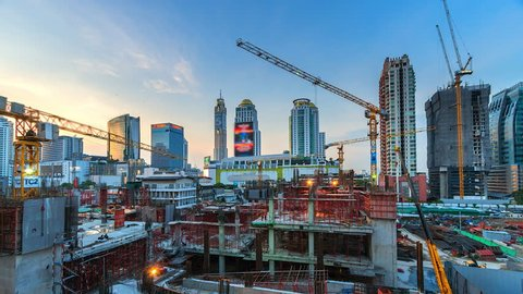 4K.Time lapse construction site in bangkok Thailand