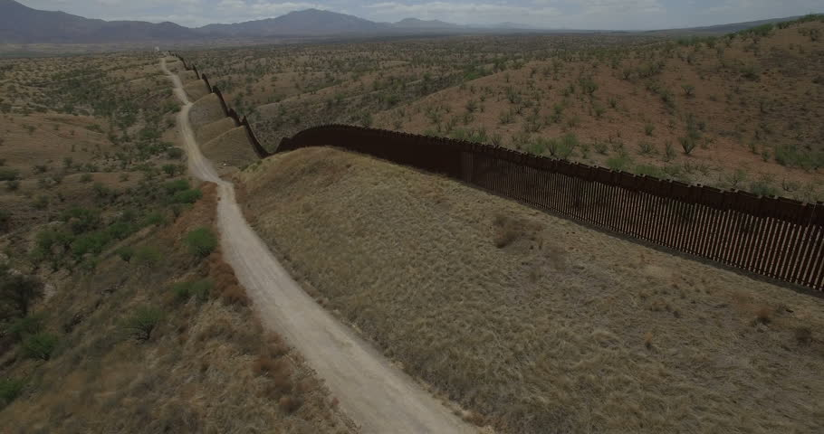 The border fence between the United States and Mexico is seen from this aerial from Arizona and peers into Sonora, Mexico in this April 28, 2017 drone footage. the fence.