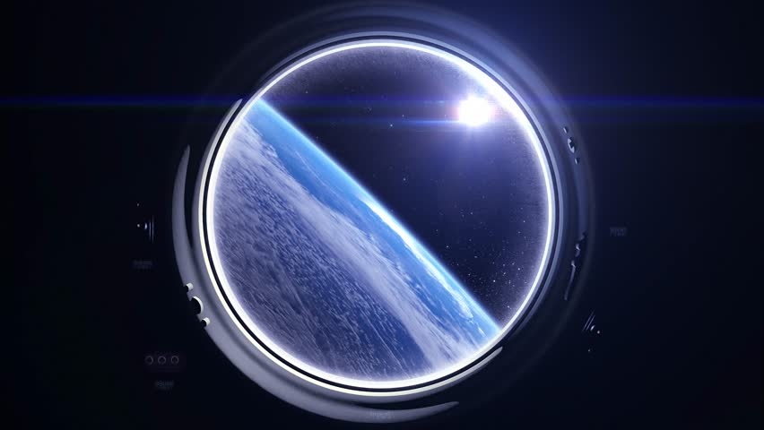 International space station is orbiting the Earth. A view of the Earth from through the porthole of a spaceship. The sun in the window. Space, earth, orbit, ISS, Elements furnished by NASA. | Shutterstock HD Video #26555957
