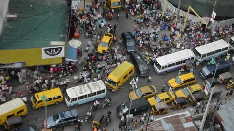 BUSY NIGERIAN MARKET LAGOS, NIGERIA - APRIL 5, 2017: A busy market in Lagos Nigeria on April 5, 2017