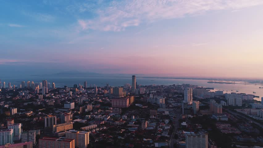 GEORGETOWN - DEC 2016 : Aerial View of Epic Sunrise at Georgetown, Penang, Malaysia