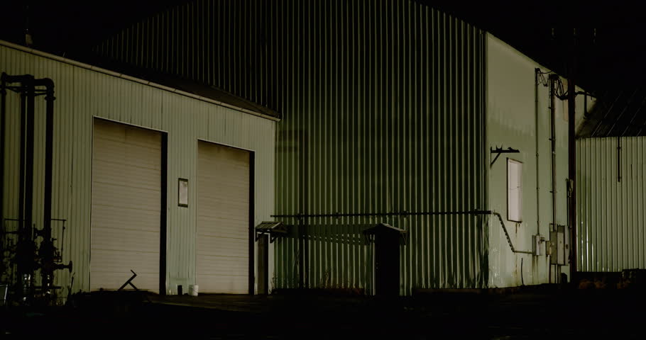 4k0009Night industrial warehouse and bay doors & Stock video of night warehouse and bay doors | 26592497 | Shutterstock