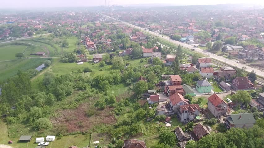 Aerial view from low-flying airplane of suburban