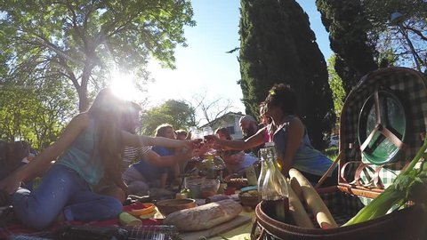 Group of friends enjoying picnic while drinking red wine and eating snack appetizer in slow motion - Young people cheering with sangria and having fun together at sunset - Fisheye lens distorsion