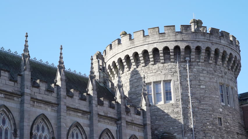 The beautiful Dublin castle in the outside view. Dublin Castle is the heart of historic Dublin. In fact the city gets its name from the Black Pool - Dubh Linn
