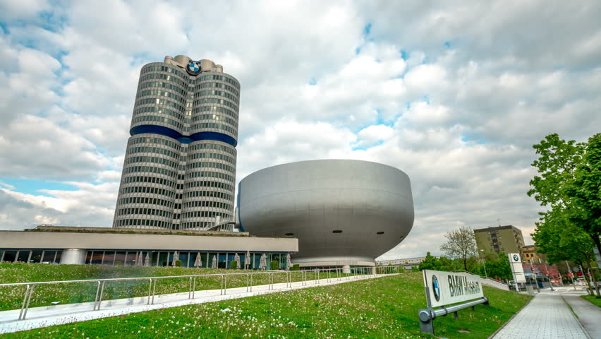 MUNICH, GERMANY- circa 2017: Hyperlapse Video of BMW-Museum and BMW Headquarters footage in 4K, Munich, Bavaria, Germany, Europe