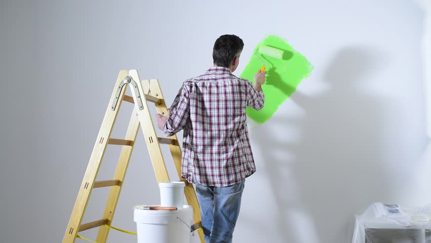 Man Painting Interior Walls at Stock Footage Video (100% Royalty-free)  26647867 | Shutterstock