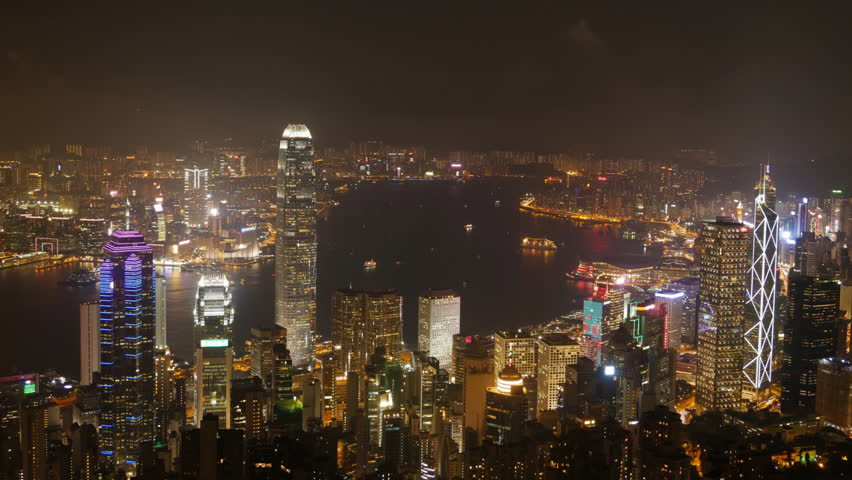Time-lapse motion of  Hong Kong city at night, view from The Peak | Shutterstock HD Video #26653267