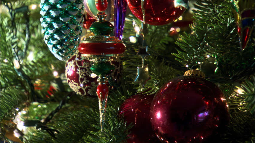 Camera Christmas Tree Ornament Part - 41: Close-up Christmas Tree Ornaments Coming Into Focus - HD Stock Video Clip