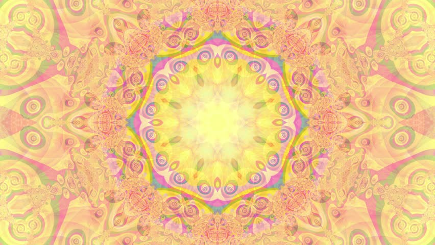 Gold kaleidoscope sequence patterns. 4K. Abstract multicolored motion graphics background. Or for yoga, clubs, shows, mandala, fractal animation. Seamless loop