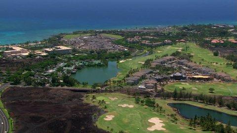 Flying over resort area near Kona, Hawaii