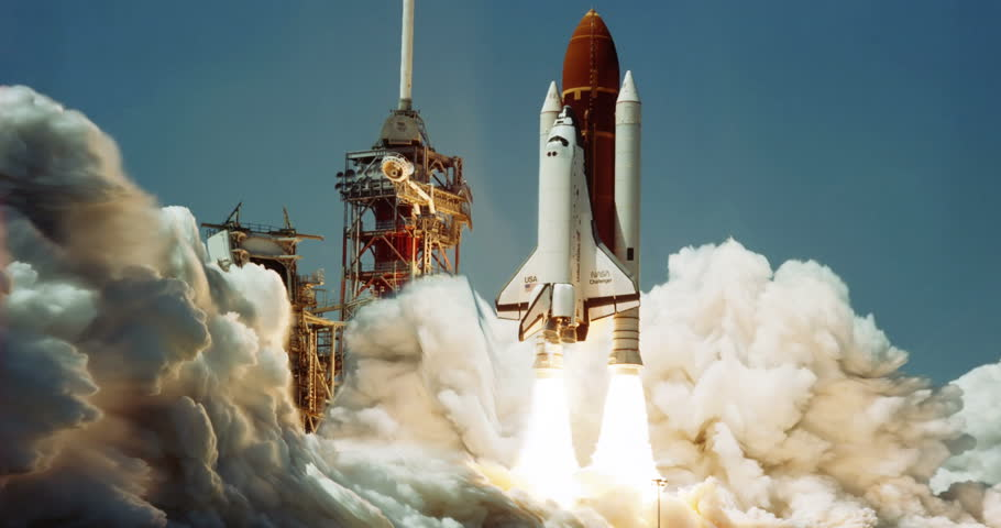 Space Shuttle Challenger Launch Animation, 4K...