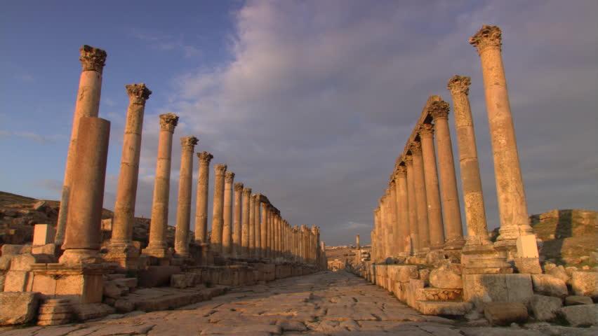Ruined columns lining the Cardo Maximus at Jerash, Jordan
