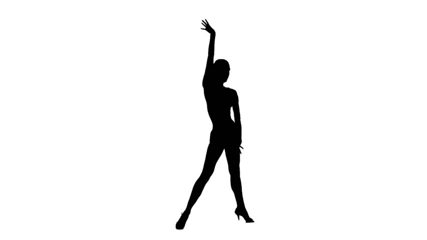 Professional dancer woman dancing latino, slow motion. White background, silhouette