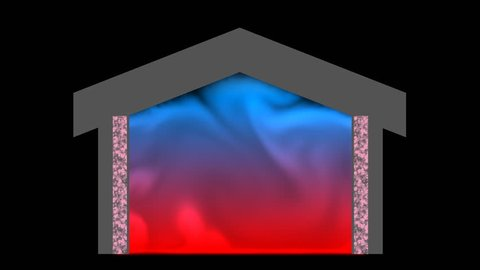Heat flow and loss through roof of partially insulated house. 3d animation.