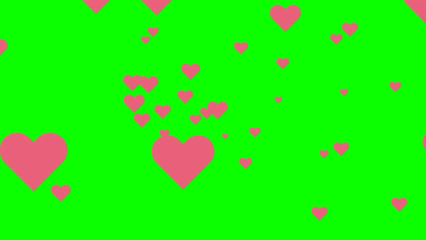 Flying hearts animation on green screen