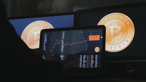 Man earns bitcoins on his bitcoin farm