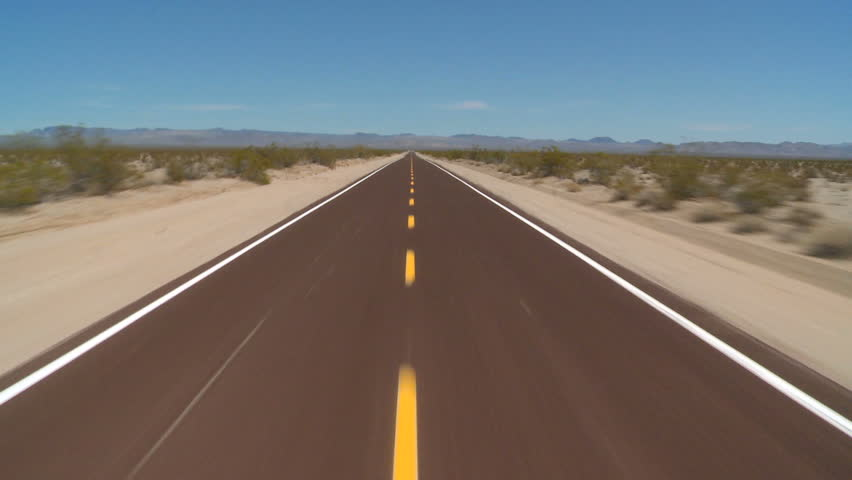 Speeding Down Abandon Mojave Desert Road - April 2012 ...