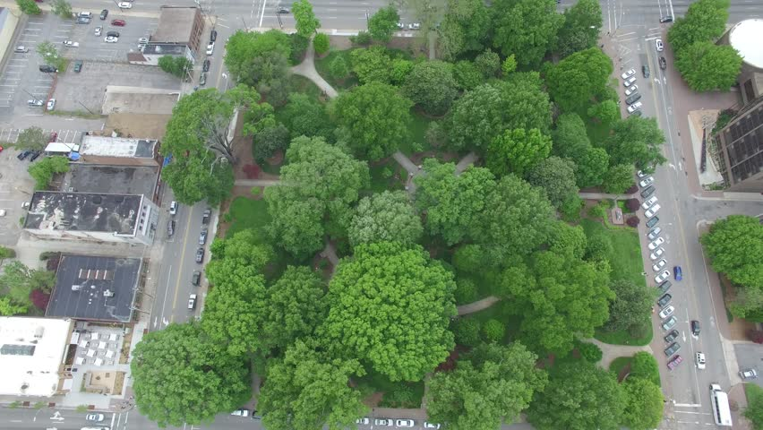 Bird's eye view above Nash Square in downtown Raleigh, NC. | Shutterstock HD Video #26777977