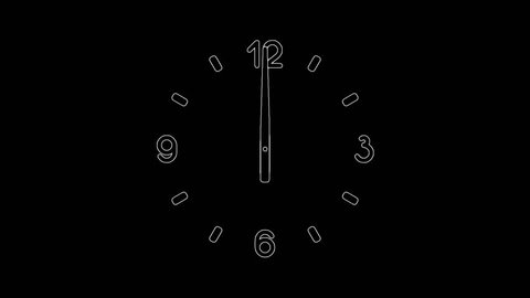Motion background with variable speed spinning clock 12 hour seamless loop. (Full-HD 1920x1080 12s/30fps)