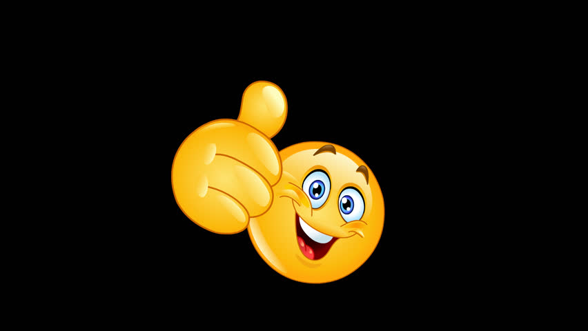 Animation of an emoticon showing thumb up with alpha channel