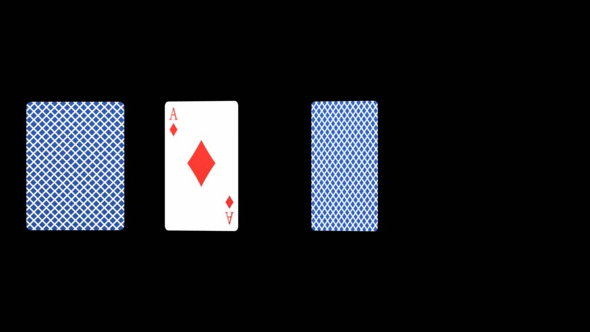 Abstract CGI motion graphics and animated background turning Ace playing cards