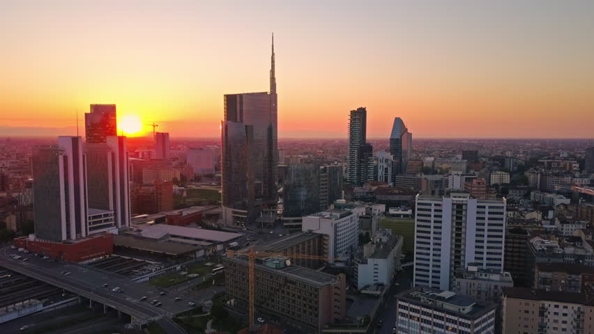 Milan city skyline aerial view flying towards financial area skyscrapers | Shutterstock HD Video #26812447