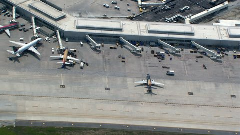 Aerial zoom-out from Chicago's O'Hare Airport. Shot in 2003.