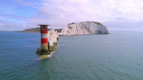 The Needles on the Isle of Wight and the Lighthouse to Protect Passing Ships Aerial View