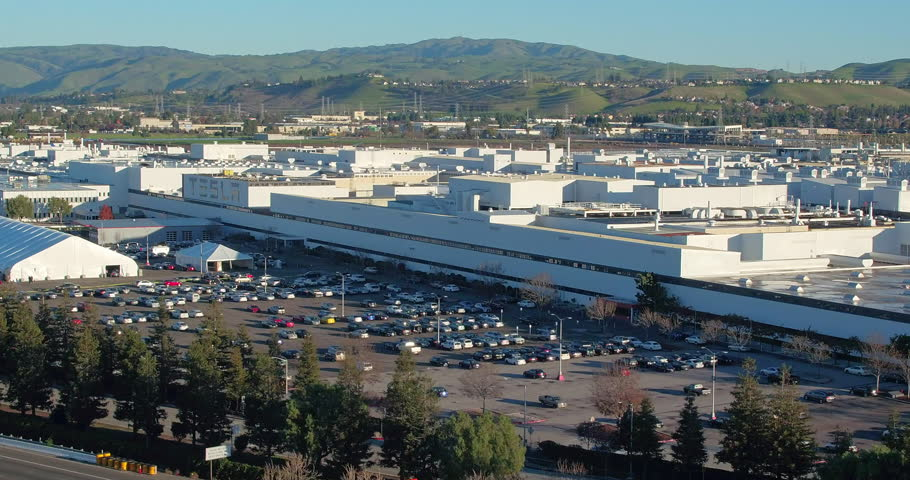 Fremont, CA, USA - December 18, 2016: aerial Shot Of tesla factory Headquarters in Fremont, Silicon Valley