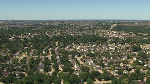 Over residential area outside Des Moines, Iowa
