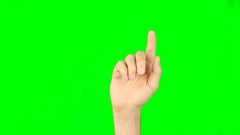 All gestures with 1 fingers front view green background. Multi touch gestures hand on green screen. Tap double-tap swipe slide up down right left hold drag pinch touch finger gestures. Have same back.