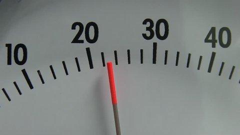 Manometer Pressure Meter Showing Results at Factory. Industrial Pressure Barometer Loop At Work. Vacuum Gauge With Descending Pointer in Laboratory. Differential Pressure Gauge
