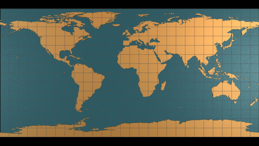 HD looping digital animation starts with flat map of Earth and folds into spinning globe, and unfolds back into flat map.