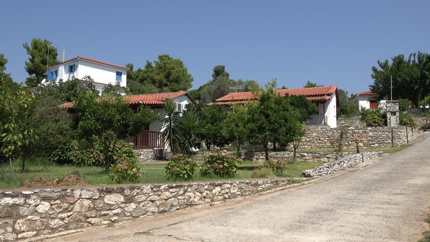 4K Beautiful rural house design in Skiathos Island, olive orchard in rustic garden