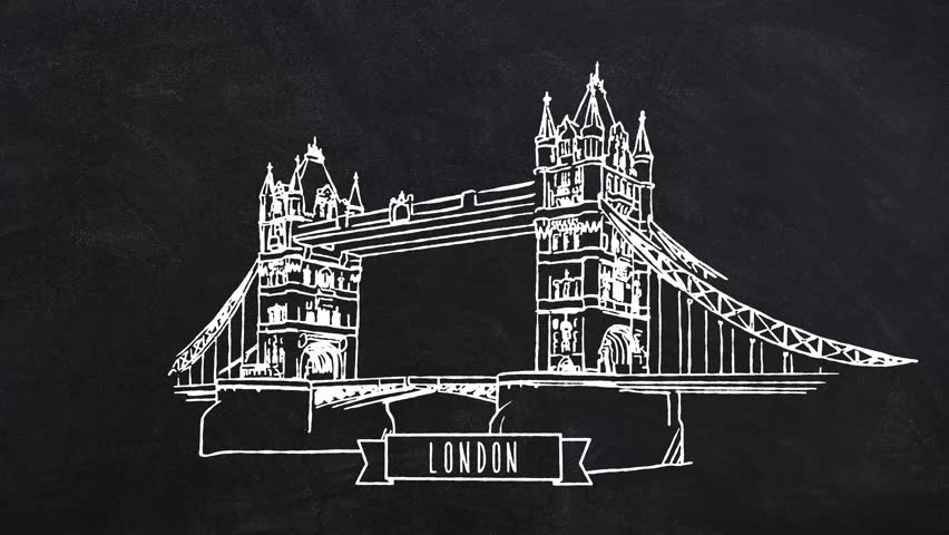 London Tower Bridge self drawing lines. Hand drawn Animation with Text and Ribbon at the lower center. Trailer Idea for Travel Marketing Business and Blog Campaigns.