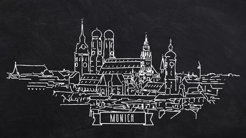 Munich Skyline self drawing lines. Hand drawn Animation with Text and Ribbon at the lower center. Trailer Idea for Travel Marketing Business and Blog Campaigns.
