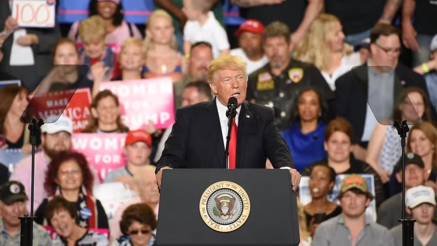 HARRISBURG, PA - APRIL 29, 2017: President Donald Trump discusses his absence  from the white house correspondents dinner during a rally held at The Farm Show Complex and Expo Center
