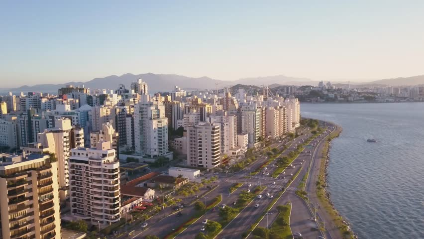 Aerial footage of Beira mar in Florianopolis, on a very beautiful day shot by a drone.