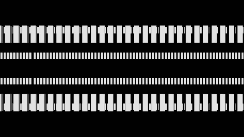Rows of white rectangles multiplying and rotating