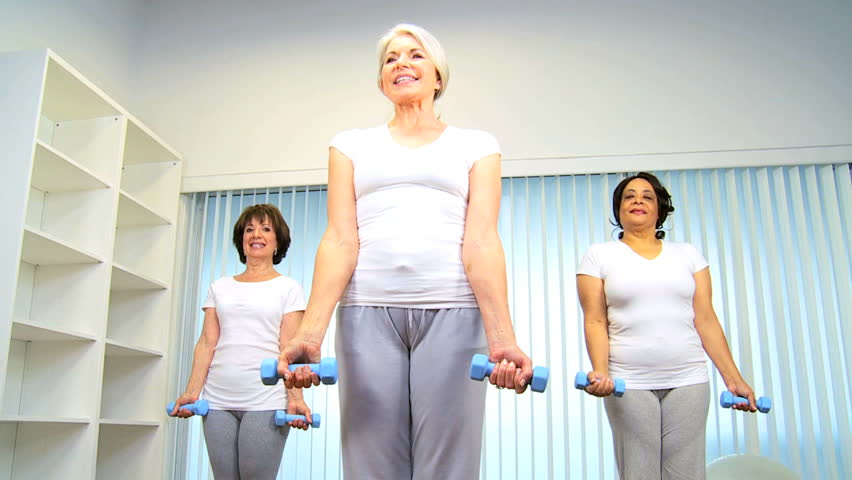 Mature Group Retired Females Using Weights Exercise Health -8083
