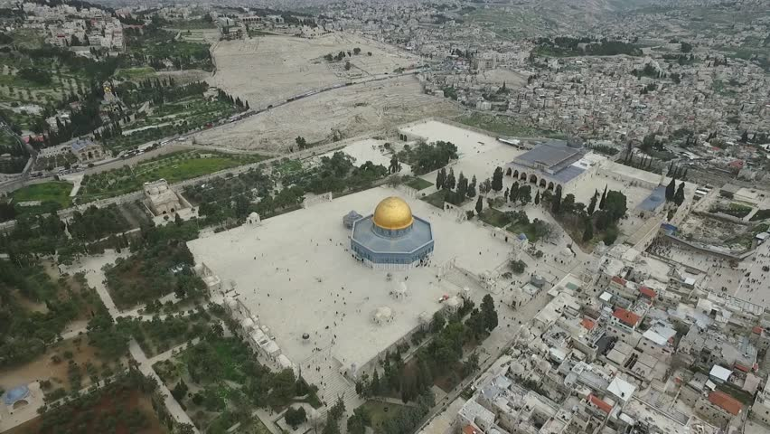 Aerial view of Al-Aqsa Mosque on temple mount, Western wall Israel- Palestine Epic shot around Dome of the Rock on Temple mount and Al-Aqsa Mosque.  Jerusalem muslim quarter & the old city at the back