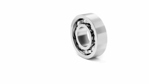 Disassembly of ball bearing on white background
